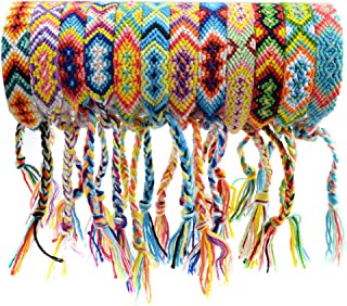 obmwang 12 Pieces Woven Friendship Bracelets Handmade Braided Bracelets with Tether Designs for Kids, Girls, Women and Men, Color B