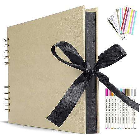 Album Photo 80 Pages Jaunes Album Photo de Scrapbook pour Auto-Design 40 Feuilles 30.48 x22.8cm Livre Photo à Coller Album Spiral Bricolage Vintage