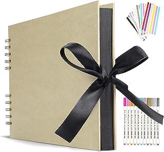 Album Photo 80 Pages Jaunes Album Photo de Scrapbook pour Auto-Design 40 Feuilles 30.48 x22.8cm Livre Photo à Coller Album...