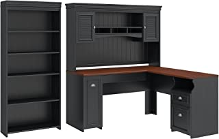 Bush Furniture Fairview L Shaped Desk with Hutch and 5 Shelf Bookcase in Antique Black