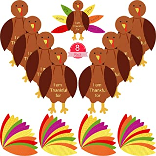 56 Pieces Thanksgiving Turkey Craft Kits DIY Turkey Thanksgiving Party School Activities Decoration Supplies, Makes Up to 8 Turkeys