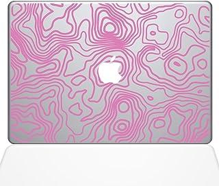 "The Decal Guru Topographic Map Macbook Decal Vinyl Sticker  - 15"" Macbook Pro (2016 & newer) - Pink (1287-MAC-15X-BG)"