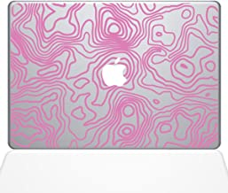 "The Decal Guru Topographic Map Macbook Decal Vinyl Sticker - 13"" Macbook Pro (2015 & older) - Pink (1287-MAC-13P-BG)"