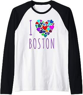 I Love Boston T Shirt I Heart Boston Massachusetts Raglan Baseball Tee