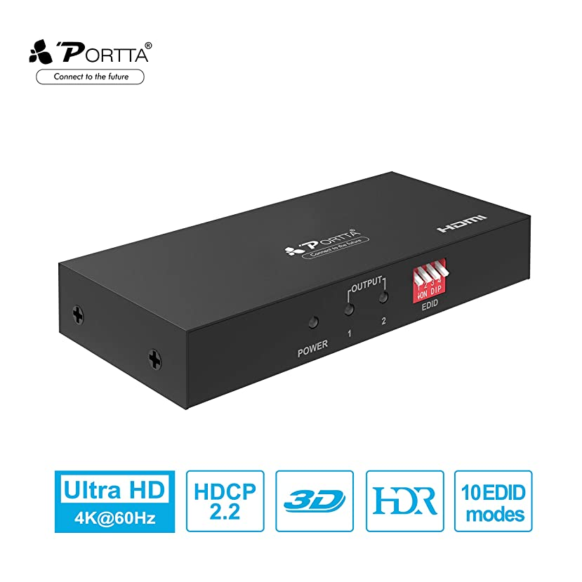 Portta HDMI 2.0 Splitter 1 in 2 Out, 1x2, Portta 4K@60Hz HDR w/EDID Setting Support YUV 4:4:4/HDMI 2.0a/HDCP 2.2/18Gbps/Cascadable for PS4 PRO/Xbox one S/Xbox one X/Apple TV 4k/Roku TV 4K/PC