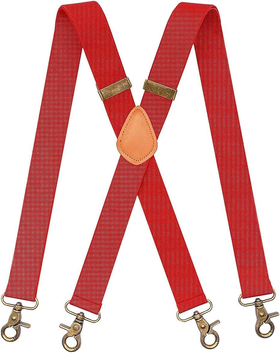 JTCMOJS Brown Leather Retro Snap Hooks Elastic Suspenders for Men Wedding Tuxedo