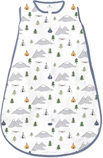 Amazing Baby Muslin Sleeping Sack with 2-Way Zipper, Outdoor Adventure with Denim Trim, Medium