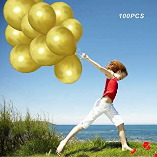 (100pcs)12inch Pearlescent Gold Latex Balloons - Shining Gold Balloons for Party Supplies and Decorations