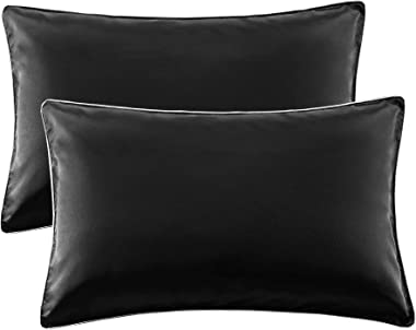 AKEFUN King Size Pillow Cases Set of 2, Black,20x40 Inches-Satin Pillowcase for Hair and Skin-Pillow Cases King with Envelope
