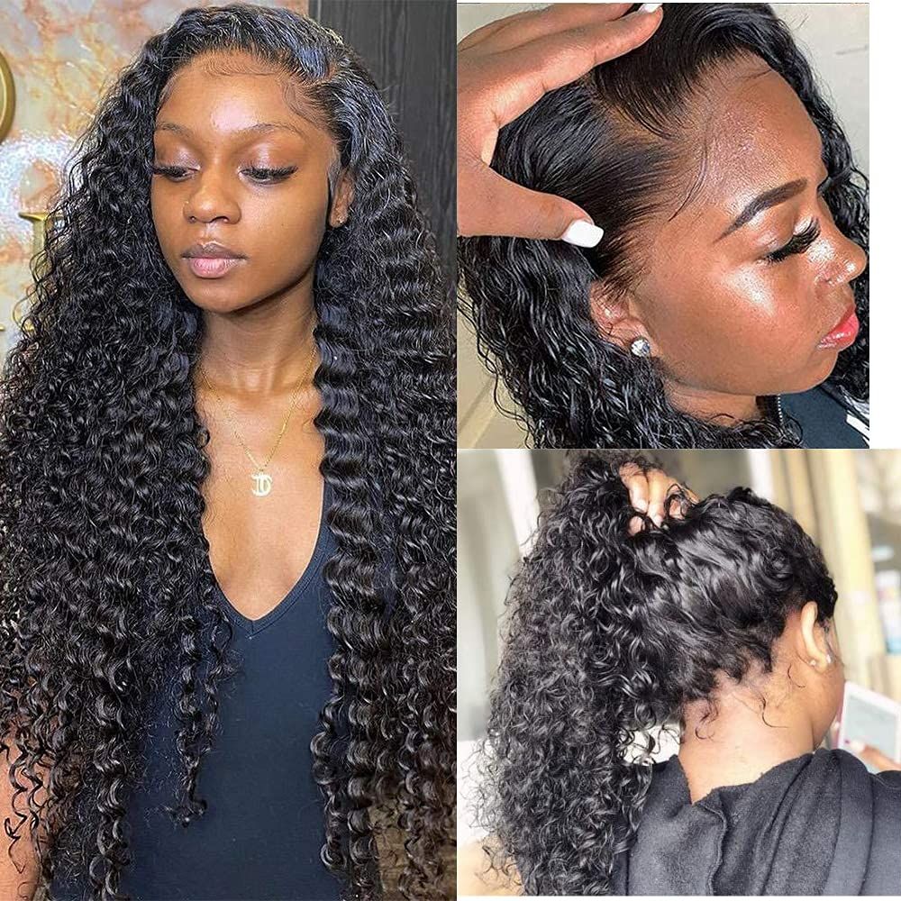 13x4 Lace Regular store Front Human Hair Wigs Super sale period limited Wave Deep We with Baby