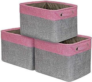 Everfunny Lot de 3grands paniers de rangement rectangulaires pliables en tissu avec poignées de transport pour linge de m...