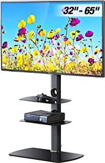 FITUEYES Universal TV Stand with Swivel Mount Height Adjustable for 32 to 65 inch LCD, LED OLED TVs