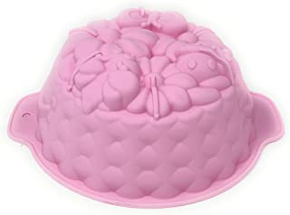 """Bundt Cake Pan with Flowers & Butterflies 8"""" Silicone Non-Stick Baking Mold for Spring, Summer or Easter -Colors Vary"""