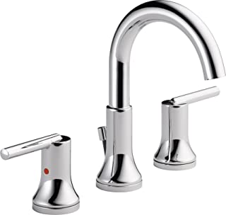 Delta Faucet Trinsic 2-Handle Widespread Bathroom Faucet with Diamond Seal Technology and Metal Drain Assembly, Chrome 3559-MPU-DST