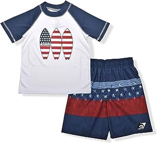 LAGUNA Boys UPF 50+ Swim Set with USA Surf Short Sleeve Rashguard Sun Shirt and American Flag Striped Boardshorts,7