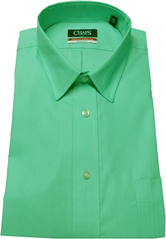 Chaps Men's Regular Fit Herringbone Twill Shirt, Size 16-16 1/2 32-33, Sea Grass