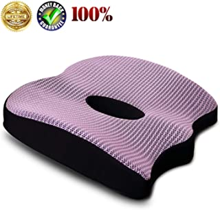 Premium Comfort Seat Cushion Non-Slip Orthopedic Memory Foam Coccyx Cushion for Tailbone Pain Cushion for Office Chair Car Seat Back Pain Sciatica Relief Seat Cushion (Purple)