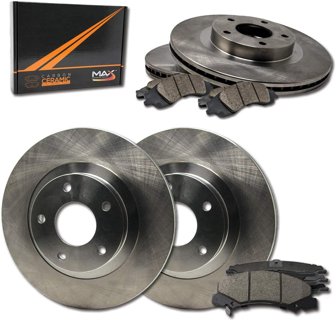 Front + Rear Super Special SALE held Max Brakes Premium with Rotors OE Ceramic Surprise price Carbon