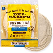 Del Campo Soft Corn Tortillas – 8 Inch Round. 100% Natural, Gluten Free and All-Corn Authentic Mexican Food. Many Serving ...