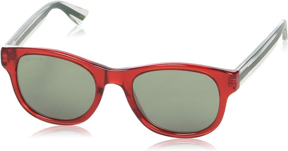 Gucci - occhiali da sole da uomo, montatura rossa trasparente GG0003S