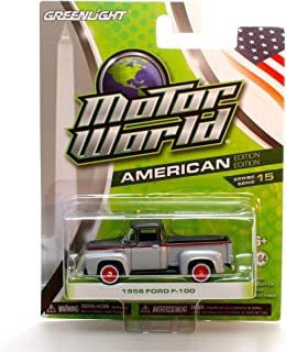 Motor World 1956 FORD F-100 (Silver/Grey) Series 15 2016 Greenlight Collectibles American Edition 1:64 Scale Die-Cast Vehicle