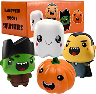 UFUNGA Squishies Toy Set - 4 Pack Halloween Stress Relieve Squeeze Soft Lovely Toy Kids Gift, Jumbo Squishy Toy