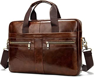 Men Business Briefcase Genuine Leather Large Capacity Handbag Messenger Shoulder Bag (Color : Dark Brown, Size : S)