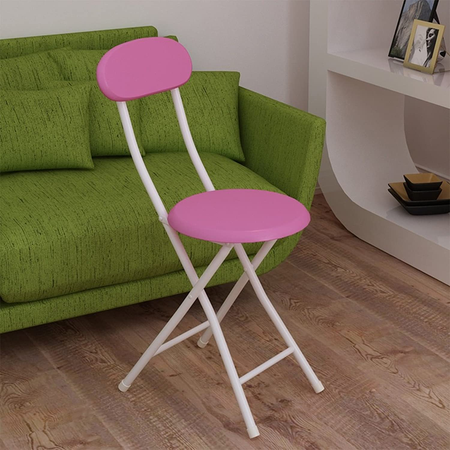 Backrest Folding Chairs Lounge Chair Dorm Room Small Chair Home Stool Training Chair Folding Chair Bench (color   Pink)