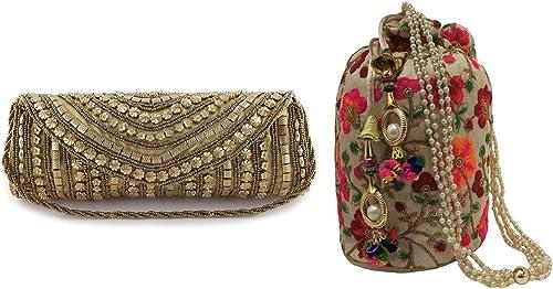 Filora Women's Potli Bag with Clutch (Set of 2)