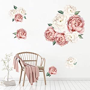 Peony Flowers Wall Decals Floral Wall Stickers Murals Delicate Wallpaper Art Applique, Decorative Waterproof Home Decor for Living Room and Bedroom