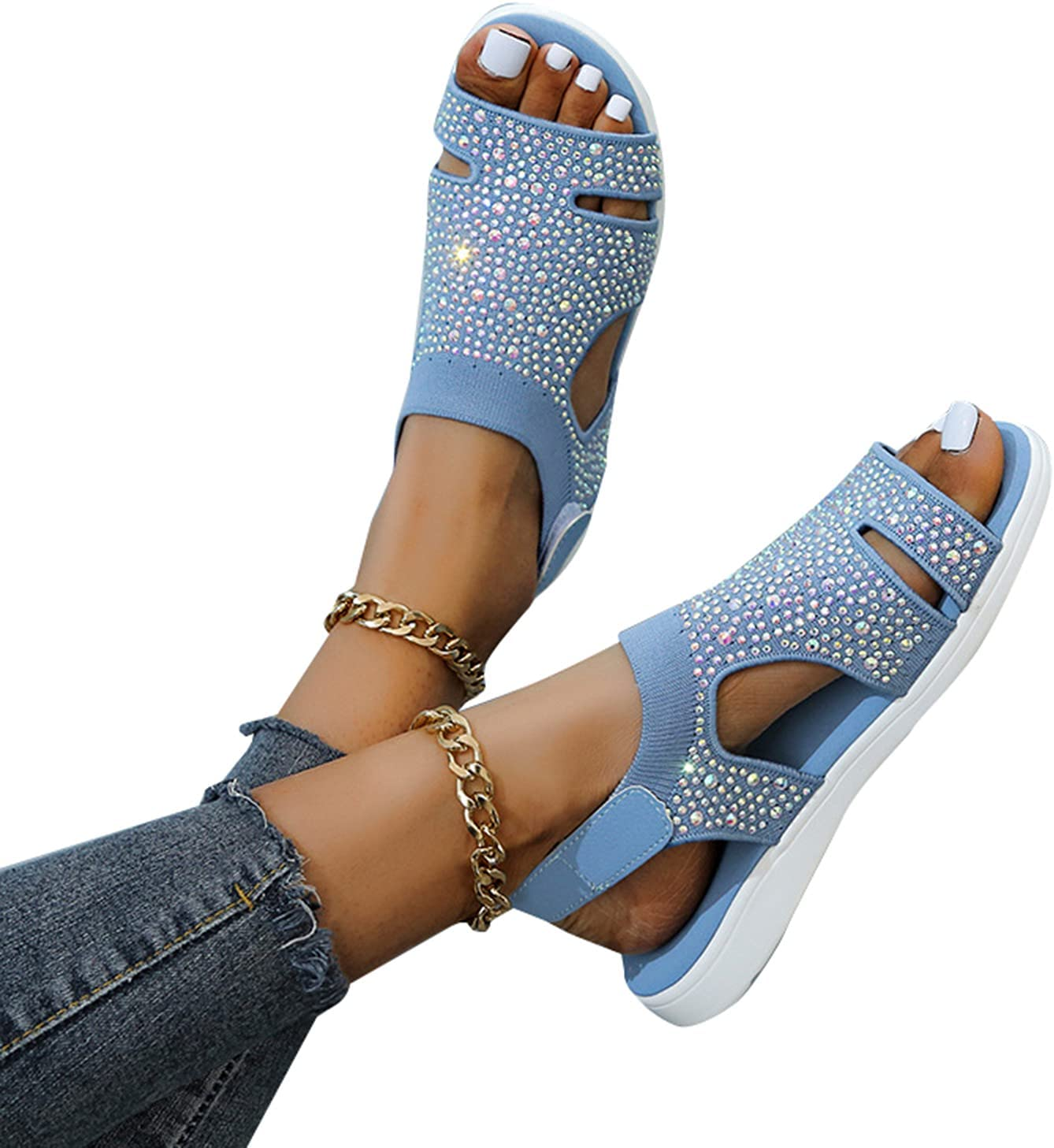 LEFUYAN Women's Sandal Comfort Slides Beach Shoes Buckle Design Summer Beach Shoes For Outdoor