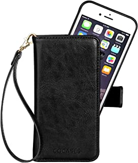 COCASES Wallet Case Compatible iPhone 8, iPhone 7, iPhone 6/6s, PU Leather Flio Stand Cover Removable Magnetic Card Slot Cash Pocket Wristlet Strap (4.7'' Black)