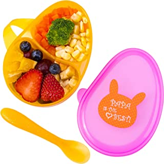 Tiny Wonders Baby Bowls with Spoon, Infant Divided Feeding Tableware with Lid, Toddler Carry on Travel Utensils, Great Gift Sets for 4, 6, 9, 12, 18 Months, 1 Year Olds, Newborn, Kids, Girls, Boys