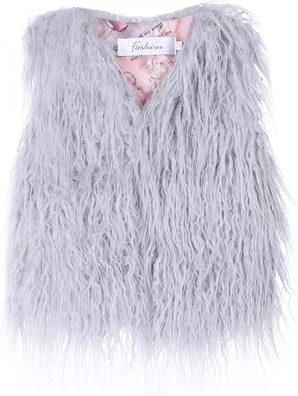MisShow Little Girls' Faux Fur Wool Vest Coat Jacket Outerwear for 1-10 Years Old