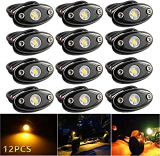 LEDMIRCY LED Rock Lights Amber Kit for JEEP Off Road Truck Auto Car Boat ATV SUV Waterproof High Power Underbody Neon Trail Rig Lights Underglow Lights Interior Exterior Shockproof(12PCS Amber)