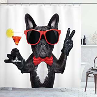 Ambesonne Funny Shower Curtain by, French Bulldog Holding Martini Cocktail Ready for the Party Nightlife Joy Print, Fabric Bathroom Decor Set with Hooks, 70 Inches, Black Red White