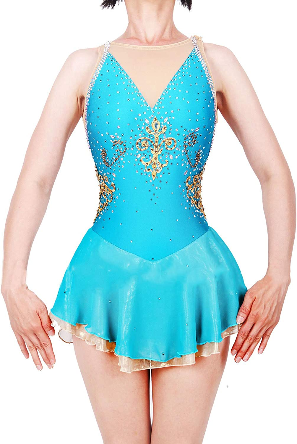 Heart&M Handmade Ice Skating Dress For Girls, bluee Figure Skating Competition Costume With Crystals Sleeveless