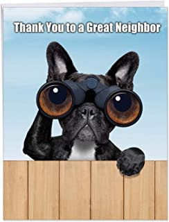 Cute Personalized Greeting Card with Envelope 8.5 x 11 Inch - Black French Bulldog Spying Over the Neighbor's Fence 'Thank You to a Great Neighbor' Funny, Silly Puppy Using Binoculars J9107