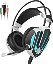 Honstek G9 Gaming Headset, USB and 3.5mm Stereo Surround LED Lighting Vibration Headphones with Microphone and Volume Control, Compatible for Laptop PC Computer (Black/White)