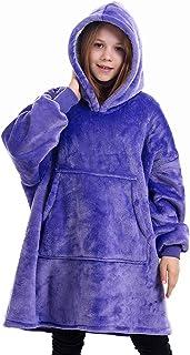 Manta con Capucha Sudadera Calentita, Grande Pullover Blanket Mullido Manta de TV Súper Suave y Cálida para Niños Niñas Mujeres Hombres Adolescentes