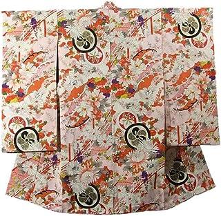 リサイクル 子供着物 女の子 橋に溢れる花々 丸文 波文 正絹