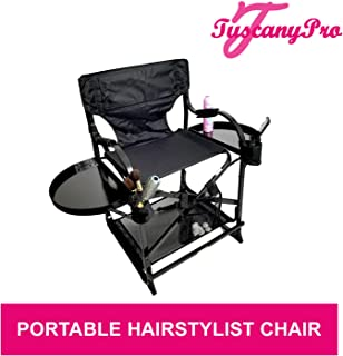 Unique TuscanyPro Portable Hairstylist Chair - Perfect for Hair Stylists, Salons, Movie Sets and More - Italian Design - US Patented - 22 Inch Seat Height