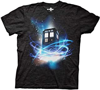 Doctor Who Tardis in Space Men's T-Shirt (Medium, Tri-Blend Black)