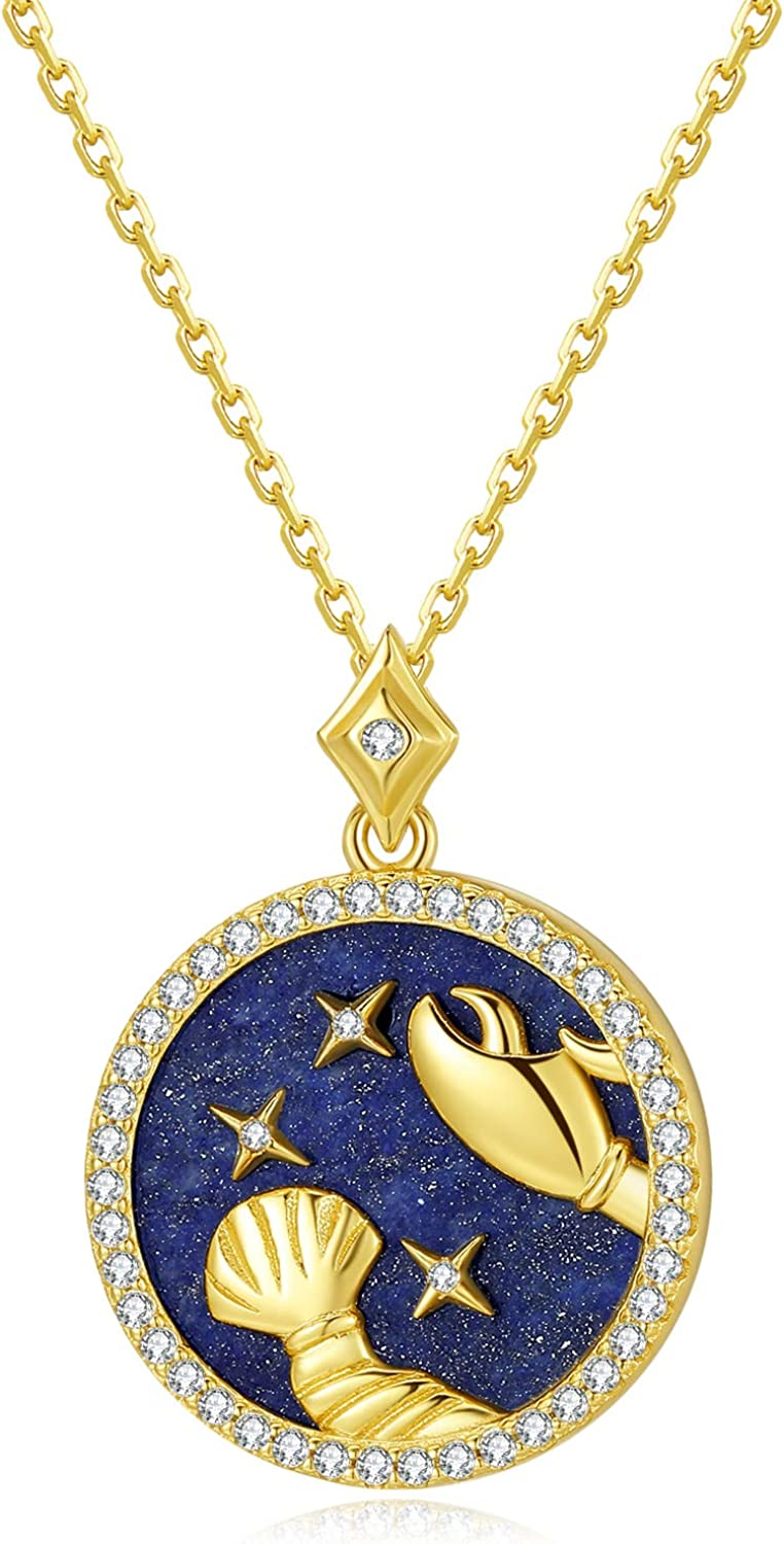 SISMIURRA Zodiac Coin Pendant Necklace 18K Gold Plated Lapis Lazuli 5A CZ 12 Constellation Necklace Personalized Jewelry for Women