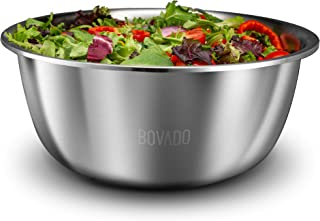 New Design Stainless Steel Mixing Bowl - 5qt - Flat Bottom Extra Wide Non Slip Base, Retains Temperature, Dishwasher Safe - By Bovado USA (16 Quart)