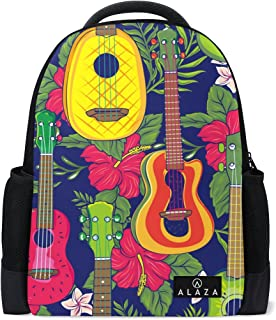 Mydaily Pop Colorful Hawaiian Fruity Ukulele Flower Backpack 14 inch Laptop Daypack Bookbag for Travel College School