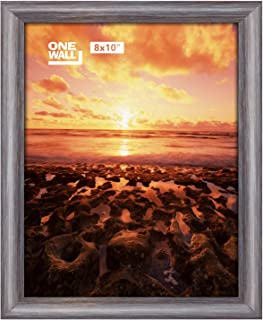 ONE WALL Tempered Glass 8x10 Picture Frame for 8x10 Photo, Dark Brown Foil Stamping Pinewood Frame for Wall and Tabletop - Mounting Material Included