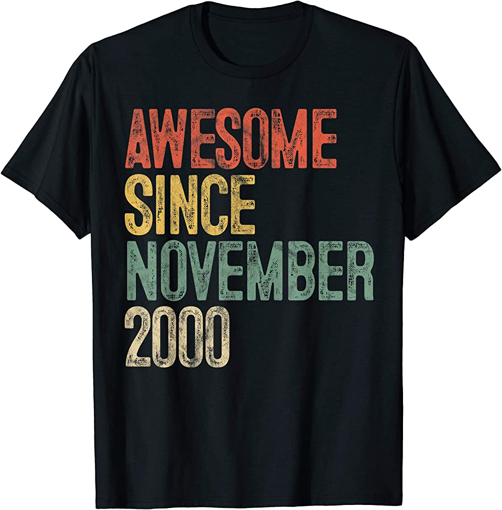 Awesome Since November 2000 19th Birthday Gifts 19 Year Old T-shirt