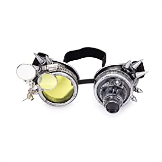 Spiked Steampunk Goggles Double Ocular Loupe Welding Punk Gothic Glasses