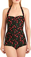 Esther Williams Pinup Black Halter Cherries One Piece Swimsuit 4